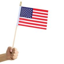 American Flag Hand Wave Flags Banner-Patriotic Event American Flag Decoration Sports  Parade Waving Flag/ front knot american flag patriotic tee