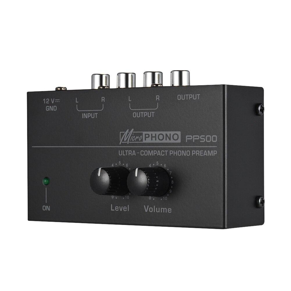 PP500 Предварительный усилитель портативный ультра компактный поворотный стол с уровнем аудио интерфейс Домашний Электронный Phono Preamp регуля...
