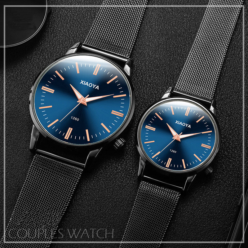 XIAOYA Simple Modern Quartz Couple Watch Fashion Mesh Stainless Steel Strap High Quality Casual Wrist Couple Watch Пара глядзець