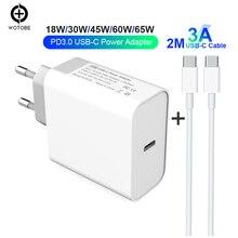 18 Вт 30 Вт 45 Вт 60 Вт 65 Вт USB-C адаптер питания 3а кабель, PD/QC3.0 зарядное устройство для xiaomi huawei MacBook iPhone/iPad s9/10(и C-C кабель