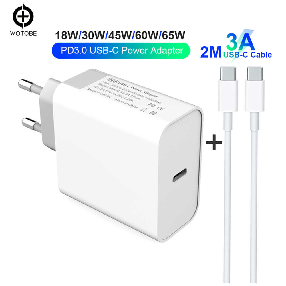18W 30W 45W 60W 65W USB-C Power Adapter 3A Cable,PD/QC3.0 Charger For xiaomi Huawei MacBook iPhone/iPad s9/10(and C-C cable)