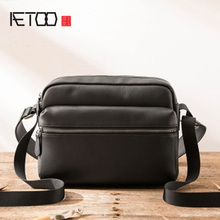AETOO Casual Genuine Leather Men Messenger Bags With Zipper Pocket High Quality Shoulder Bag For Male Soft Crossbody Bags new high quality canvas bag male solid cover zipper casual shoulder school bags men crossbody bag men s messenger bags hqb2014