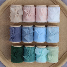 4 pcs Handmade Frayed Edged Chiffon Silk Ribbon with Wood Spool Wedding Invitation Bouquets 4cmx5.5m Sheer Fringe Ribbon Flatlay