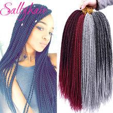 30 raízes/pacote sallyhair senegalese crochê torção tranças de cabelo crochê cor marrom trança cabelo ombre sintético senegal trança cabelo