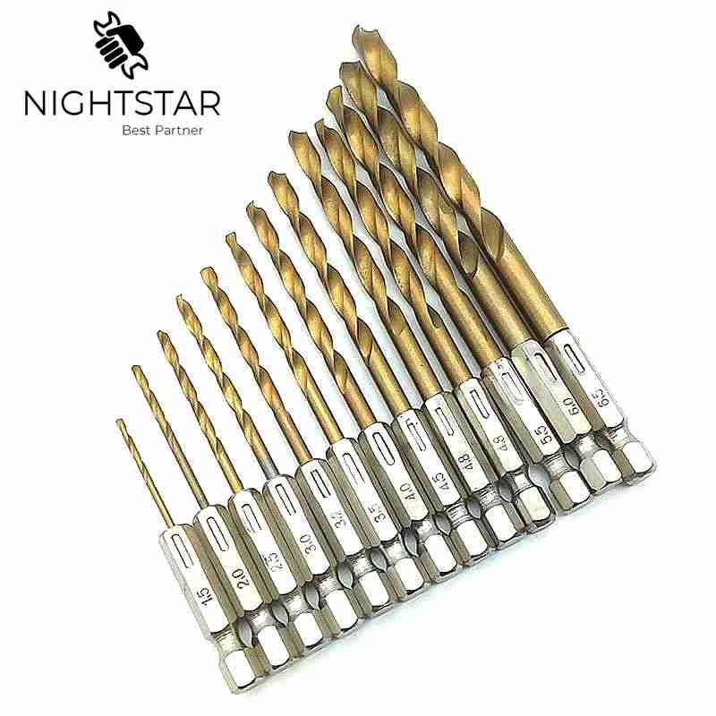13Pcs Power Tools Drill Bits Steel Hex Shank Quick Change Cobalt Drill Bit Set Multi Bits 1.5-6.5mm Countersink
