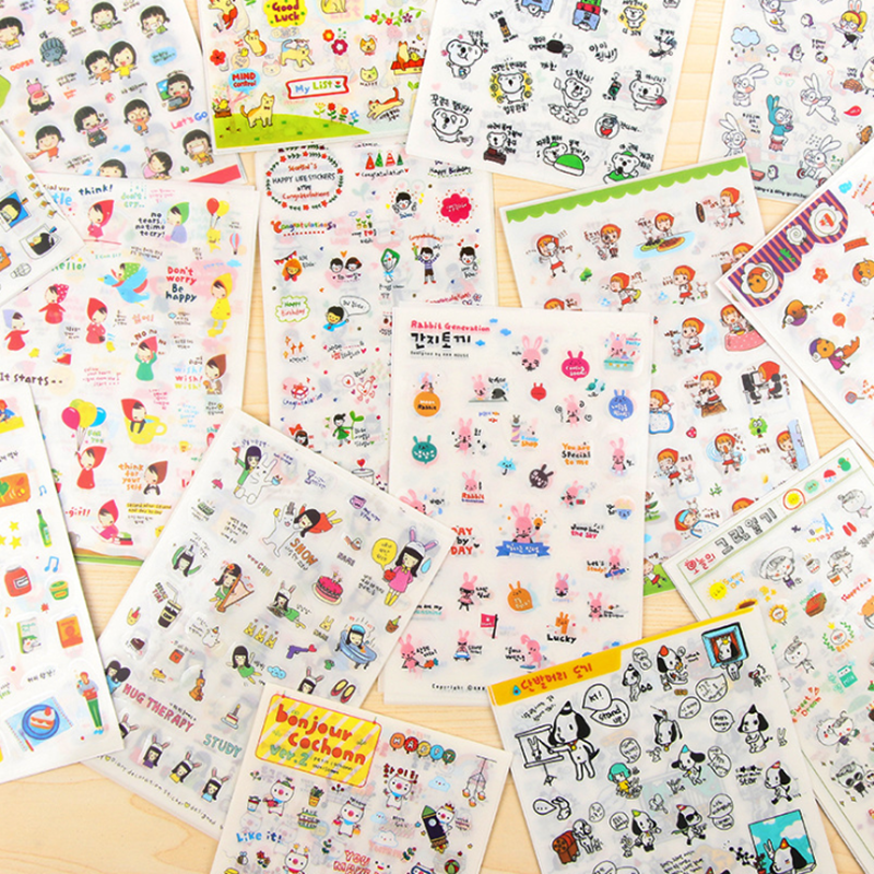 6sheets/pack/lot Korea Kawaii Doll Girl Paper Sticker Set Note Sticker Decoration Label Multifunction Fashion Gift