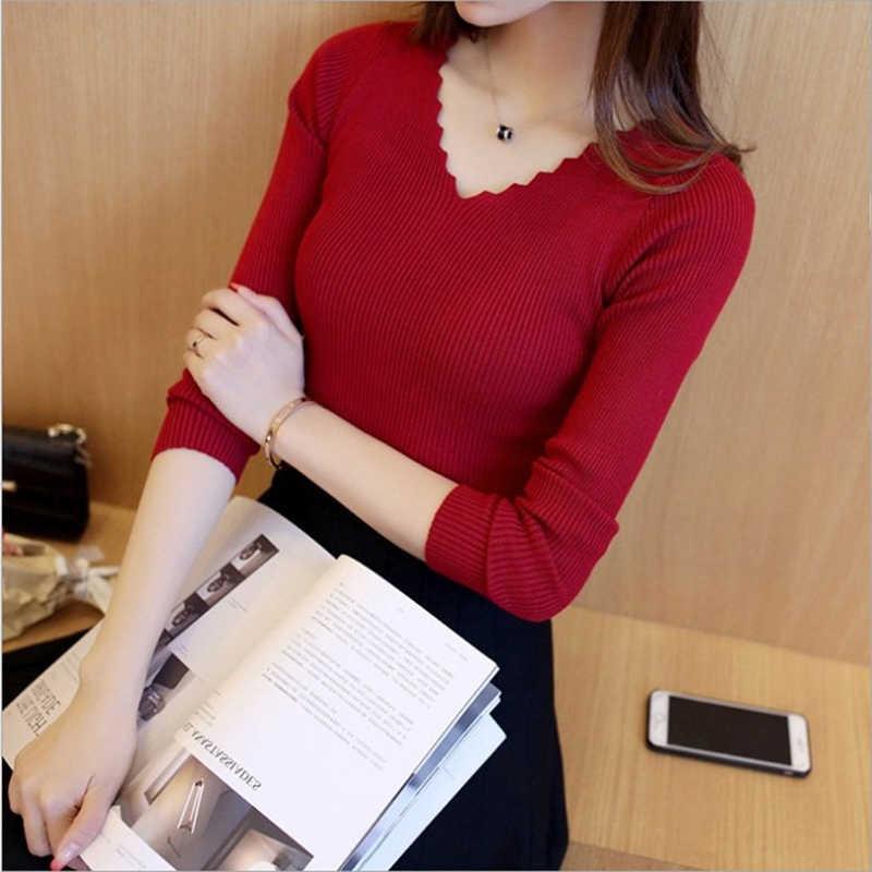 שחור לבן סתיו חורף סוודר נשים מוצק סרוג סוודר סוודרים ארוך שרוול חולצות גל לחתוך V-צוואר בסיסי משרד 2019