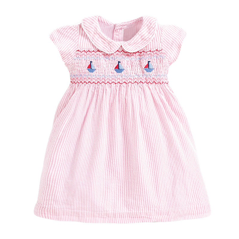 Little Maven 2021 New Summer Baby Girls Clothes Brand Dress Toddler Cotton Striped Boat Print Dresses for Kids 2-7 Years S0958 5