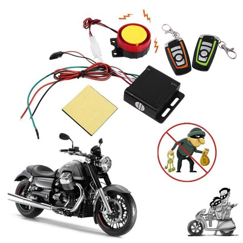 Otomobiller ve Motosikletler'ten Hırsızlık Koruma'de Evrensel motosiklet alarmı Sistemi Scooter Başlangıç uzaktan kumandalı anahtar Fob anti hırsızlık güvenlik alarm sistemi Iki yönlü Motorlu title=