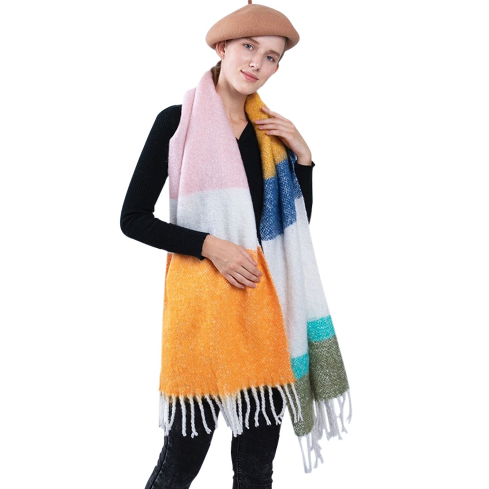 D Women Long Soft Wrap Casual Warm Scarves Shawls Multicolor Stripe Soft Scarf  2020 Multi-Purpose Scarf шарфов шарф женский