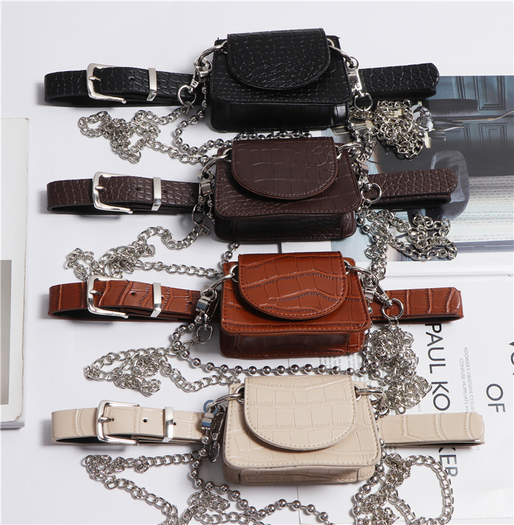French Style Crocodile PU Detachable Waist Belt With Mini Fanny Packs WOmen Double Layers Chain Messerger Bag Money Flap Bag New