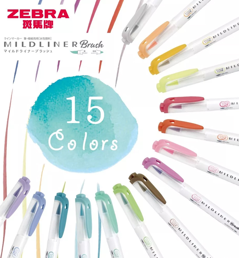 Pack Of 15 Zebra Mildliner Double Ended Brush Highlighter Marker Pen/Extra Fine Creative Modelling Bullet Journal Kawaii