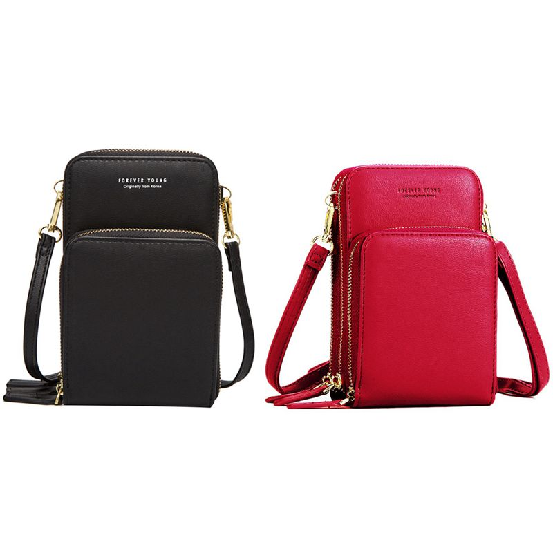 2 Pcs Colorful Cellphone Bag Fashion Daily Use Card Holder Small Summer Shoulder Bag for Women Red & Black