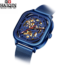 цены HAIQIN 2019 mens watches top brand luxury steel watch men Automatic mechanical watch menSquare Skeleton Wrist Watch montre homme