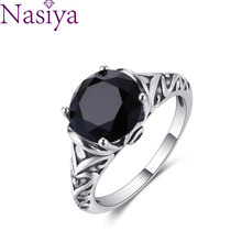 S925 Sterling Silver Rings Black Zircon Amethyst for Women Vintage Design Fine Jewelry Bridal Wedding Engagement Ring Accessory