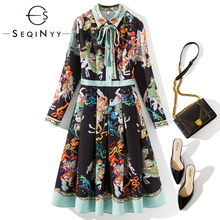 SEQINYY Elegant Dress 2020 Spring Autumn New Fashion Design Women Flowers Printed A-line Knee