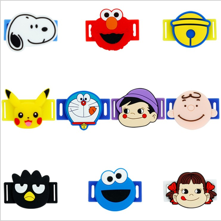 PEKO-chan Doraemon Pikachu Elmo Cookie Monster Sports Shoes Accessories PVC Cloth Shoes Sneakers Shoelace Gift For Kids