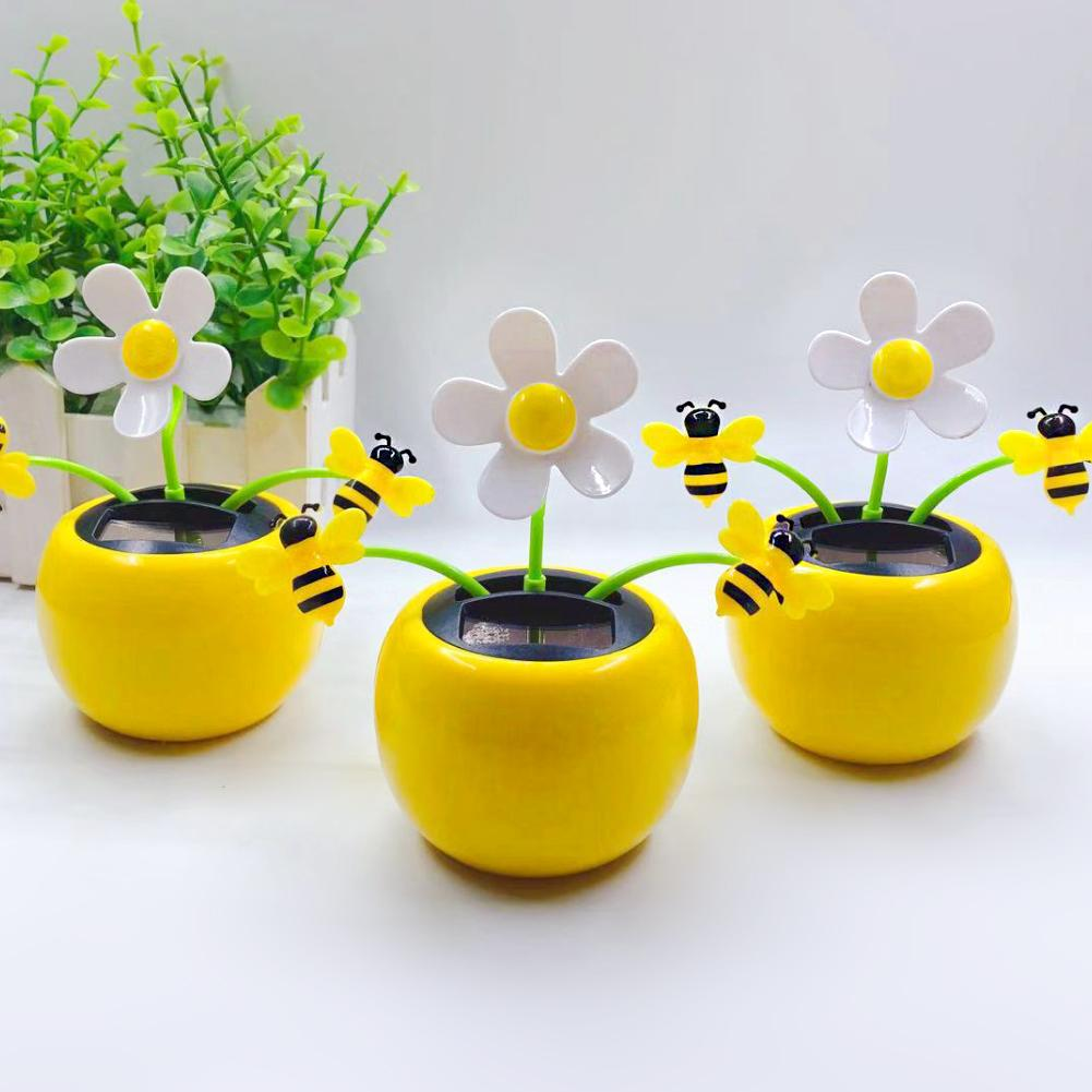 Креативный пластиковый цветок на солнечной энергии, украшение для автомобиля, авто интерьерные украшения, откидной клапан, горшок, качели, ...