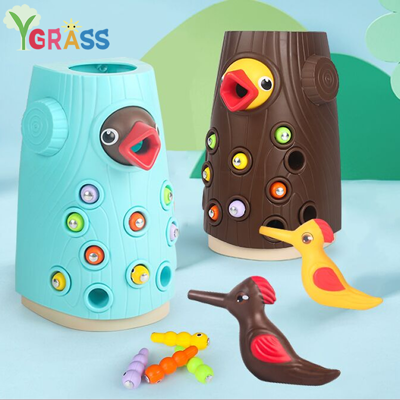Kids Woodpecker Toys Catch Bugs Game Magnetic Fshing Color Cogniton Early Educational Toy For Children