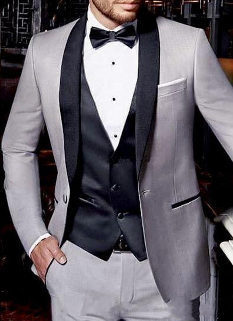 One Button Light Grey Wedding Men Suits Shawl Lapel Three Pieces Business Groom Tuxedos (Jacket+Pants+Vest)