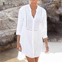 Weiß Baumwolle Schwimmen Anzug DressSarong 2020 Weiß Bademode Spitze Patchwork Tunika Pareo De Plage Strand Abdeckung Ups Tunika Strand