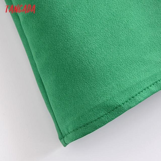 Tangada Women Green Mini Dress Strap Adjust Sleeveless 2021 Fashion Lady Dresses Vestido QN126 5