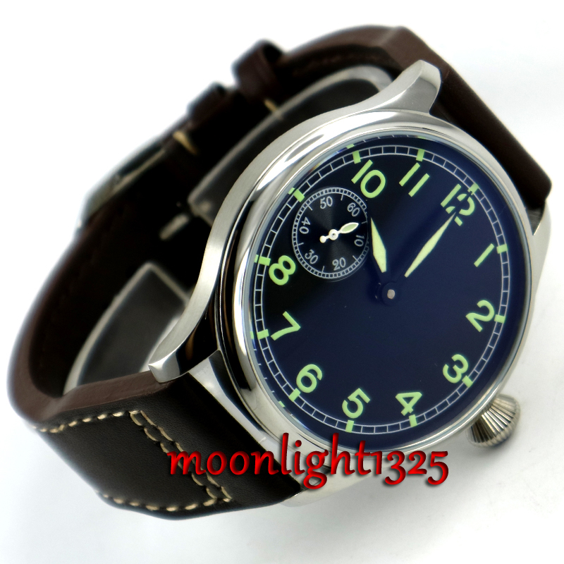 2016 New Fashion 44mm PARNIS Pilot 6497 Mechanical Hand Wind Movement Men's Watch Wholesale