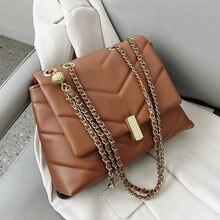 ATLI V-shaped Stripes PU Leather Chain Shoulder Bags for Women 2021 Designer Women's Trend Handbags Branded CrossBody Sac A Main