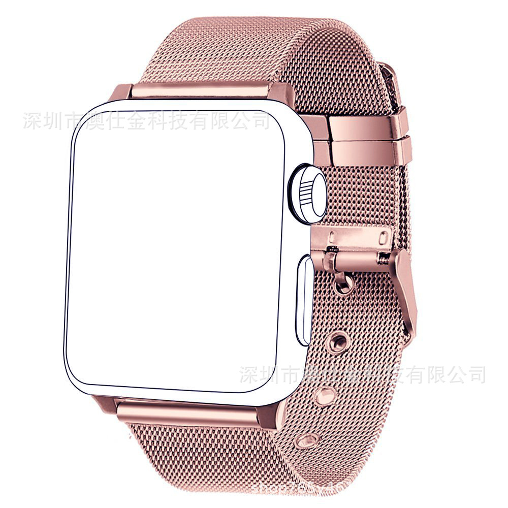 For Apple Watch Strap New Style Button Milan Classic Buckle Stainless Steel Watch Band Export Factory Wholesale