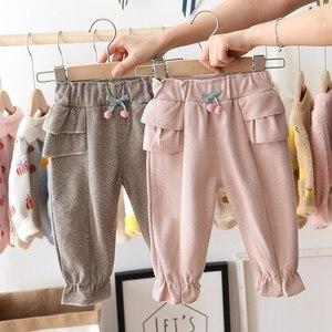Image 4 - 2020 Autumn Baby Girls Kids Pants Dot Polka Bow Ruffles Casual Trousers Infants Children Clothes Wear Princess Long Pant S9692