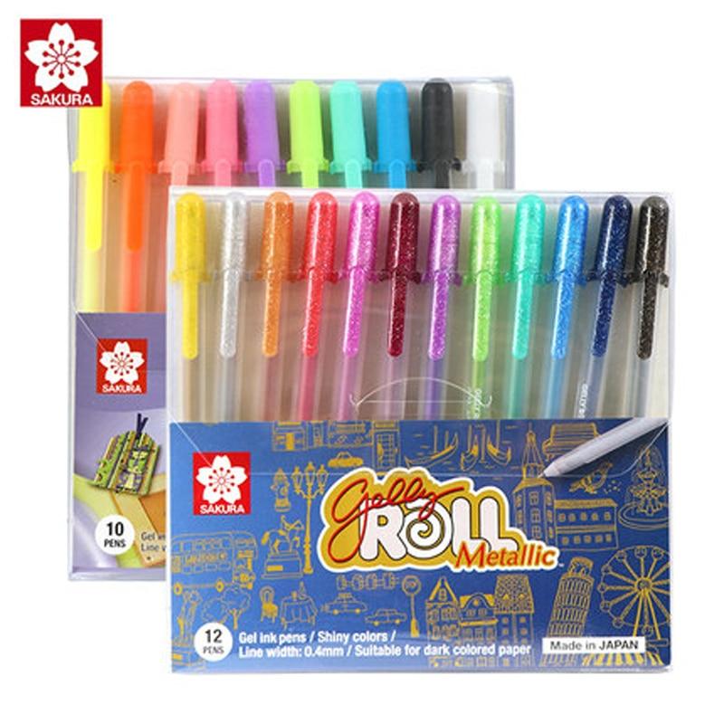 5/10/12 Pcs SAKURA Sunshine Neutral Pen 3D Painting Pastel Shining Cartoon Art Painting Neutral Pen Set Combination