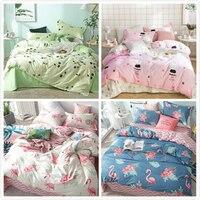 Flamingo Pattern Duvet Cover Pillowcase 3pcs Bedding Set Soft Cotton Kids Child Bed Linen Single 150x200 180x220 200x230 220x240