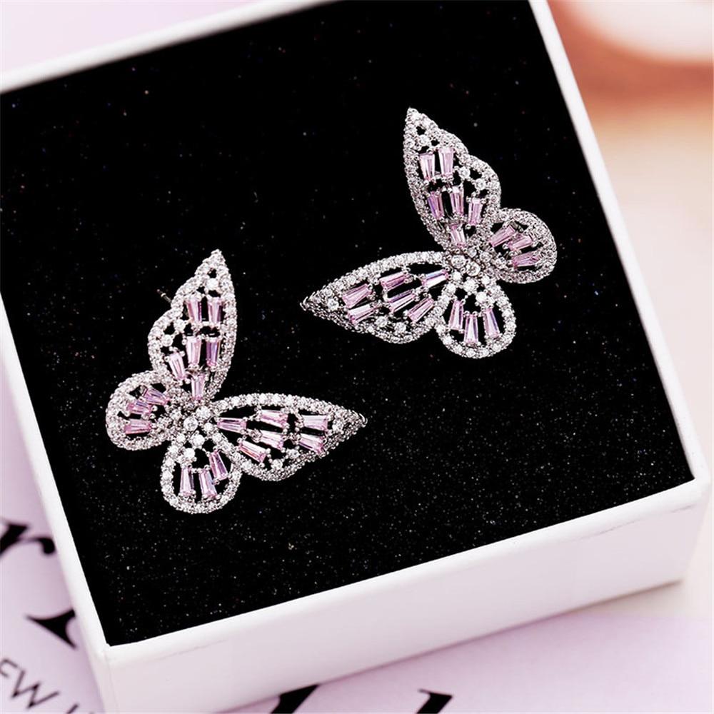 New Luxury Style Hollow Out Zircon Butterfly Temperament Ear Nail Female Joker Personality Earrings Jewelry