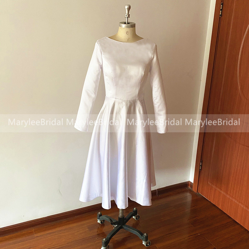 Vintage White Ivory Short Wedding Dress With Long Sleeves A Line Robe De Mariee Simple Tea Length Formal Bridal Dress For Women