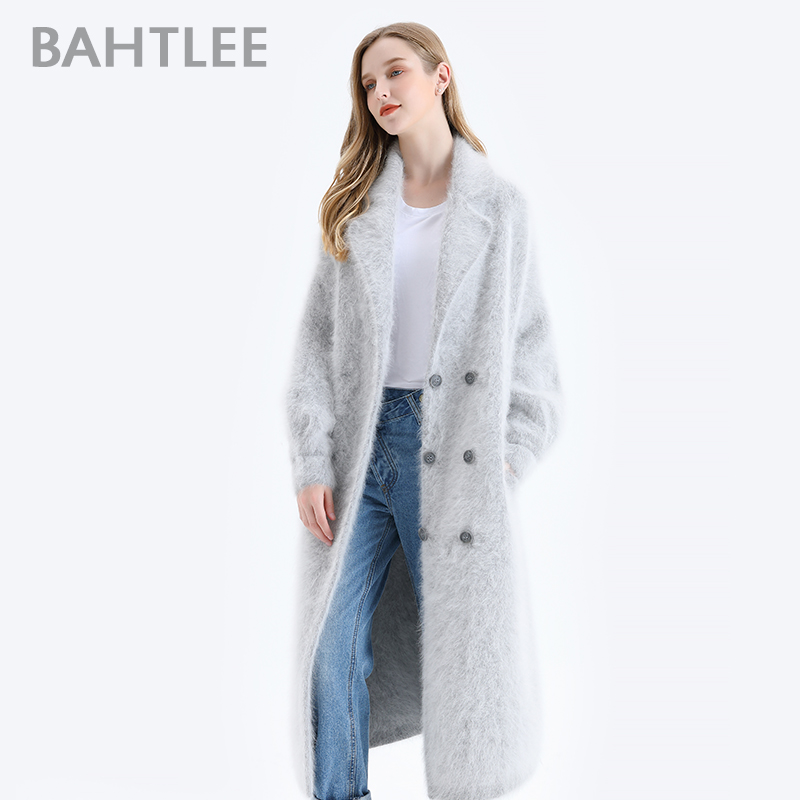 BAHTLEE Women Angora Double Breasted Long Coat Sweater Winter Wool Knitted Cardigans Jumper Turn Down Collar Lantern Sleeves \