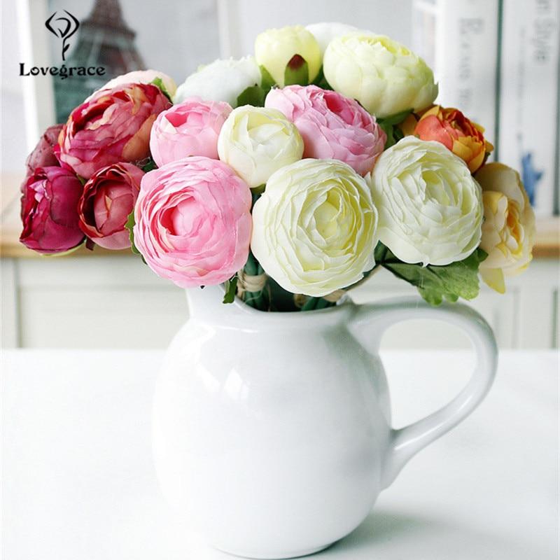 Lovegrace букет невесты Искусственные Шелковые цветы 10 голов Роза лотоса Цветочная композиция ручной работы Домашний свадебный букет