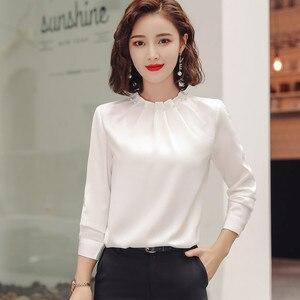 Image 4 - Long Sleeve Beading Shirt Women Fashion New Autumn O Neck Loose Chiffon Blouse Office Ladies Plus Size Work Tops