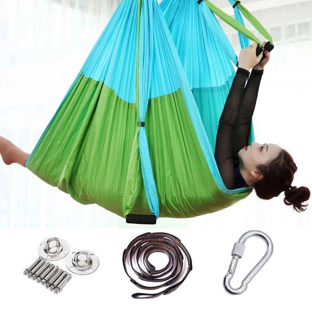 2.5*1.5m Anti-Gravity Yoga Hammock Flying Swing Aerial Traction Device Yoga Hammock Set Home Gym Hanging Belt Swing Trapeze
