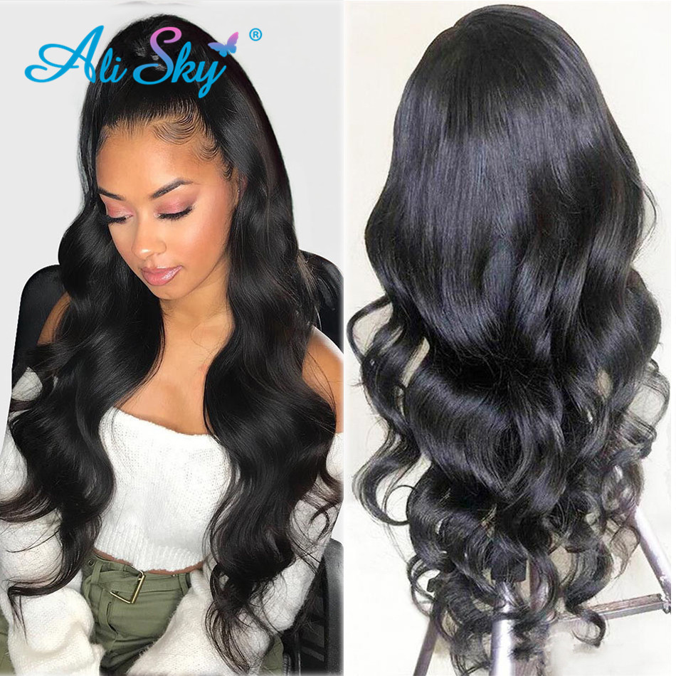 Alisky HD Transparent Lace Front Human Hair Wigs For Black Women Peruvian Pre Plucked Lace Frontal Wigs 13x6 Body Wave Remy Hair