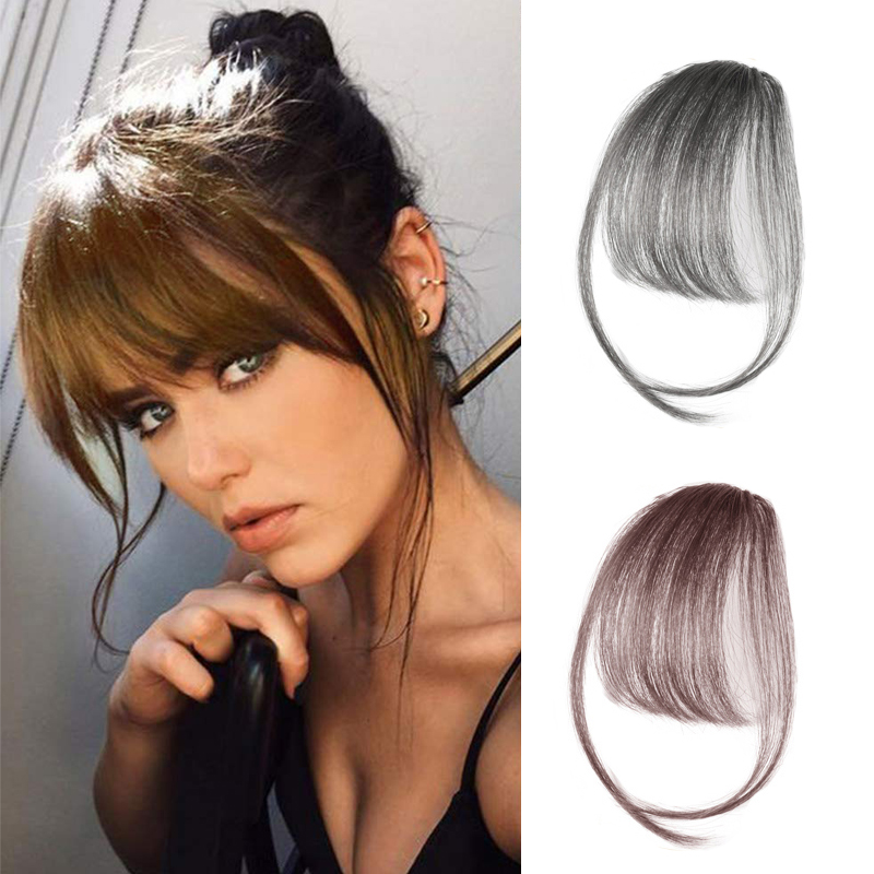 SHANGKE Clip In Bangs Hairpiece Synthetic Fake Bangs Hair Piece Clip In Hair Extensions High Temperature Hair
