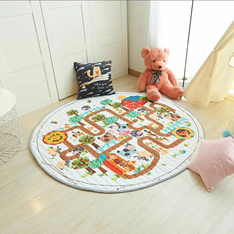 H5c9d8864c47648acb5ad38acd66074c5v Kid Soft Carpet Rugs Cartoon Animals Fox Baby Play Mats Child Crawling Blanket Carpet Toys Storage Bag Kids Room Decoration