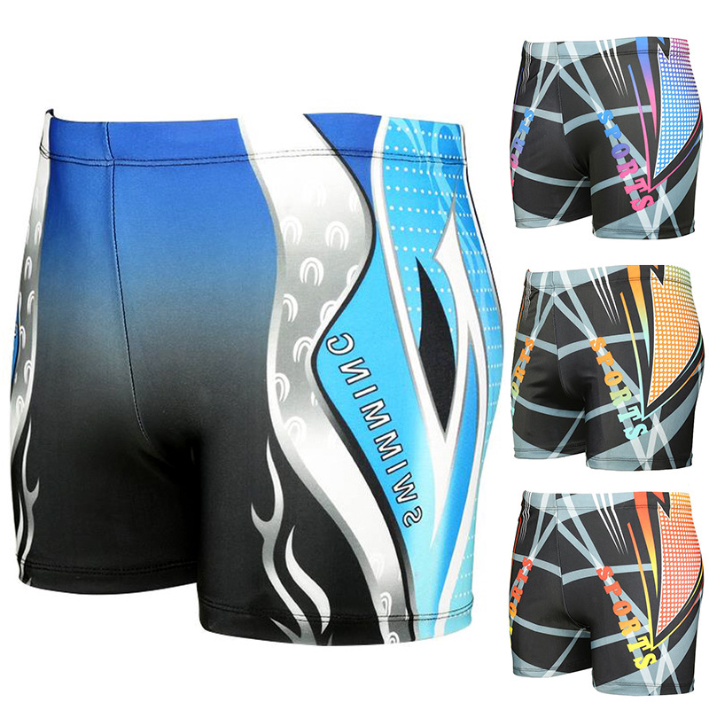 Cool Swimming Trunks South Korea-Style Printed Men Boxer Large Size Plus-sized Loose-Fit Hot Springs Swimming Trunks Swimming Tr