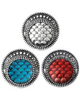 6Pcs/lot New Fashion 18MM Metal Blue Fish Scales Snap Button Jewelry For Bangle Women Charm Bracelets(China)