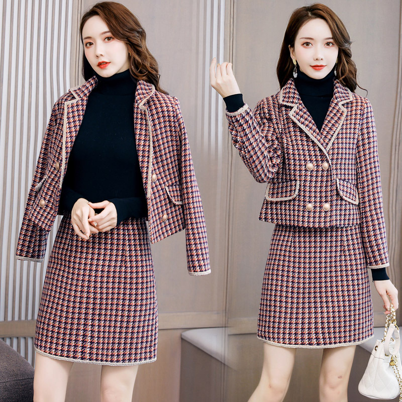 Woolen Dress Women's Two-Piece 2019 Autumn And Winter New Style Korean-style Fashion Slimming Plaid Graceful Dress Outfit Fashio
