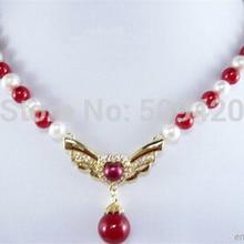 > подлинный белый жемчуг красный коралл желтый позолоченный кристалл орел кулон ожерелье