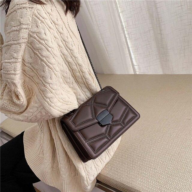 Rivet Chain Small Crossbody Bags For Women 2020 Shoulder Messenger Bag Lady Luxury Handbags 3