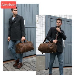 Aimeison الرجال حقيبة يد حقيبة سفر مقاوم للماء جلدية سعة كبيرة السفر واق من المطر متعددة الوظائف حمل حقائب كروسبودي عادية