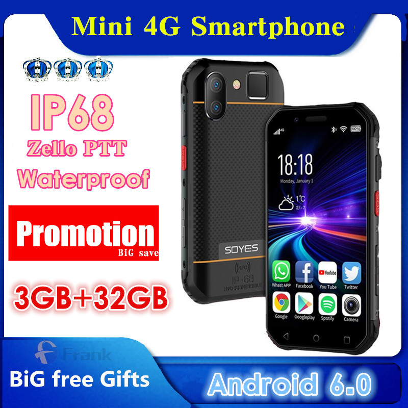 SOYES S10 водонепроницаемый мини-смартфон, 3 ГБ 32 ГБ, 4G, 3 дюйма, 5 Мп