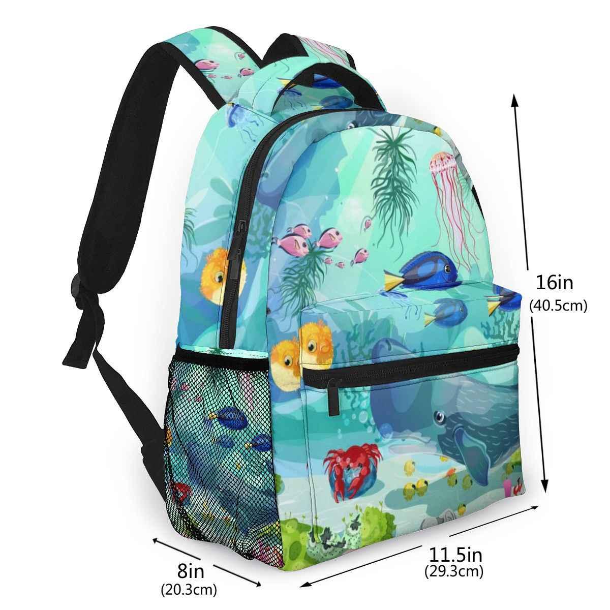 Mochila feminina com uso múltiplo mochila feminina dos desenhos animados peixes de baleia subaquática medusa saco de escola feminino meninas saco de viagem