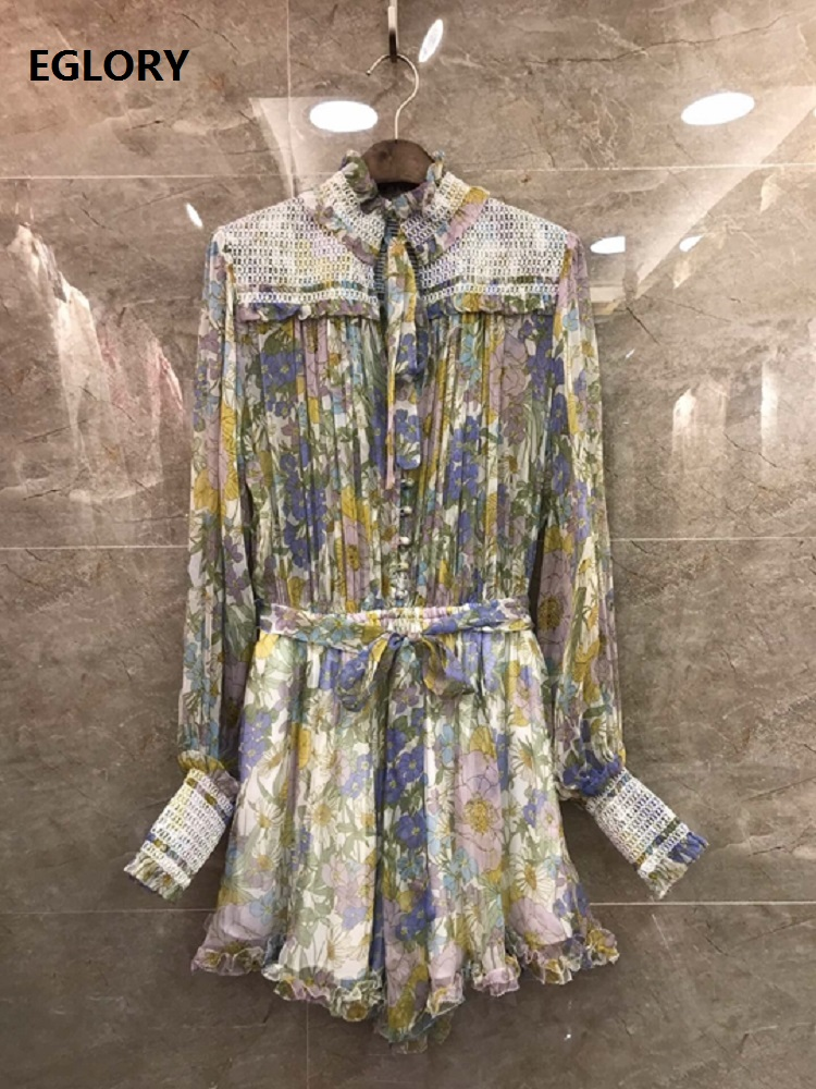 100%Silk Jumpsuits Shorts 2020 Spring Summer Fashion Playsuits Women Elegant Flower Prints Long Sleeve Casual Party Jumpsuits